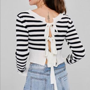 Back Tied Stripe Knitted Top/ Sweater